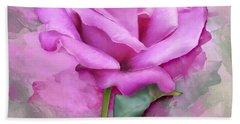 Watercolour Pastel Lilac Rose Hand Towel
