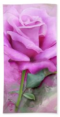 Watercolour Pastel Lilac Rose Bath Towel