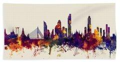 watercolour, watercolor, urban,  Bangkok, Bangkok skyline, bangkok cityscape, city skyline, thailand Hand Towel
