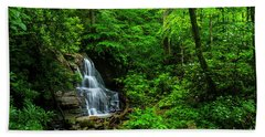Waterfall And Rhododendron In Bloom Hand Towel
