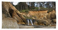 Waterfall At Hug Point State Park Oregon Hand Towel