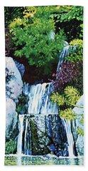 Waterfall At Japanese Garden Hand Towel