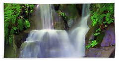 Bath Towel featuring the painting Waterfall by Harry Warrick