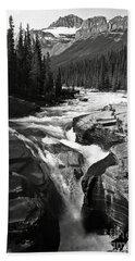 Waterfall In Banff National Park Bw Bath Towel by RicardMN Photography