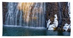 Waterfall In Winter Bath Towel