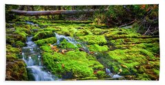 Bath Towel featuring the photograph Waterfall Over Mossy Rocks by Elena Elisseeva
