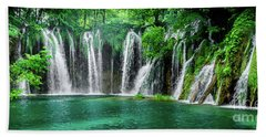 Waterfalls Panorama - Plitvice Lakes National Park Croatia Hand Towel