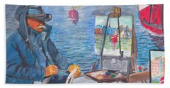 Waterfront Artist Hand Towel by Quwatha Valentine
