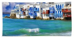 Waterfront At Mykonos Hand Towel
