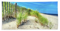 Bath Towel featuring the photograph Waterfront Sand Dune And Grass by Gary Slawsky