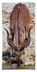 Waterhole Kudu Hand Towel by Ernie Echols