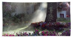 Watering The Lawn Bath Towel by Keith Boone