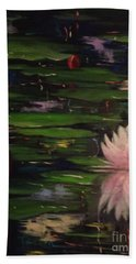 Bath Towel featuring the painting Waterlilies - Original Sold by Therese Alcorn
