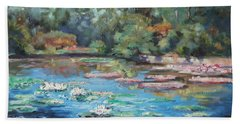Waterlilies Pond In Tower Grove Park Bath Towel