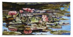 Waterlilies Tower Grove Park Hand Towel by Irek Szelag