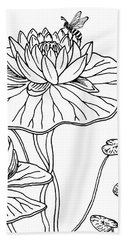 Waterlily And Bee Drawing  Hand Towel