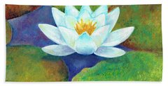 Bath Towel featuring the painting Waterlily by Elizabeth Lock