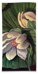 Hand Towel featuring the painting Waterlily Like A Clock by Randol Burns