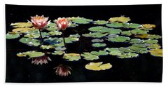 Hand Towel featuring the painting Waterlily Panorama by Marilyn Smith