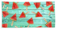Watermelon Popsicles On Blue Bath Towel
