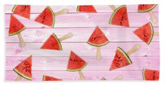 Watermelon Popsicles On Pink Bath Towel