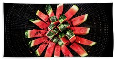 Watermelon Sun Hand Towel by Edgar Laureano