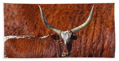 Hand Towel featuring the photograph Watusi Blues In Rustic Red by Amanda Smith
