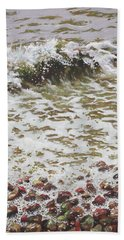 Hand Towel featuring the painting Wave And Colorful Pebbles by Martin Davey