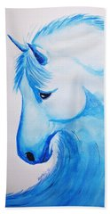 Wave Horse Hand Towel by Edwin Alverio