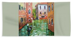 Wave Under The Oars Of The Gondola, City Scene. Bath Towel