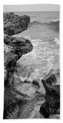 Waves And Coquina Rocks, Jupiter, Florida #39358-bw Bath Towel