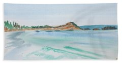 Waves Arriving Ashore In A Tasmanian East Coast Bay Bath Towel