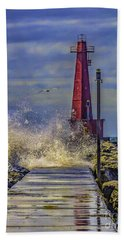 Waves At Muskegon South Breakwater Hand Towel