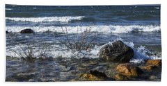 Waves Crashing Ashore At Northport Point On Lake Michigan Bath Towel