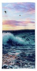 Waves Crashing At Sunset Hand Towel