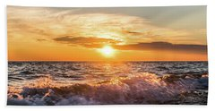 Waves Crashing With Suset Hand Towel
