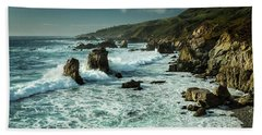 Waves Hitting The Rocks Bath Towel