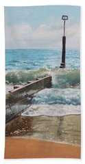 Hand Towel featuring the painting Waves With Beach Groin by Martin Davey