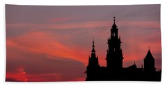 Wawel Castle And Cathedral Silhouette In Krakow Hand Towel
