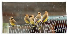 Waxwings In The Rain Hand Towel