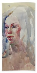 Bath Towel featuring the painting Wc Portrait 1617 by Becky Kim