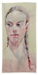 Bath Towel featuring the painting Wc Portrait 1619 by Becky Kim