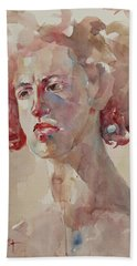 Bath Towel featuring the painting Wc Portrait 1621 by Becky Kim