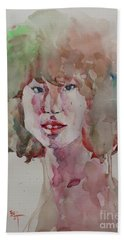 Bath Towel featuring the painting Self Portrait 1623 by Becky Kim