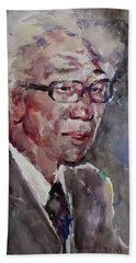 Bath Towel featuring the painting Wc Portrait 1624 My Papa by Becky Kim
