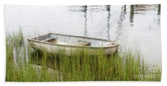Weathered Old Skiff - The Outer Banks Of North Carolina Hand Towel