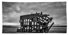 Weathered Rusting Shipwreck In Black And White Bath Towel