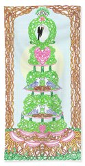 Hand Towel featuring the painting Wedding Cake With Doves Customize It With Names Of Bride And Groom by Lise Winne