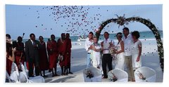 Wedding Party In Rose Petals Bath Towel