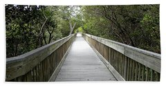 Hand Towel featuring the photograph Weedon Island Boardwalk  by Chris Mercer